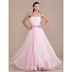 Australia Formal Dress Evening Gowns Prom Gowns Military Ball Dress Candy Pink Plus Sizes Dresses Petite A Line Sexy One Shoulder Long Floor Length Chiffon Stretch Satin